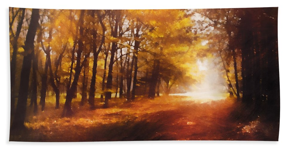 Impressionism Hand Towel featuring the mixed media Four Seasons Autumn Impressions At Dawn by Georgiana Romanovna
