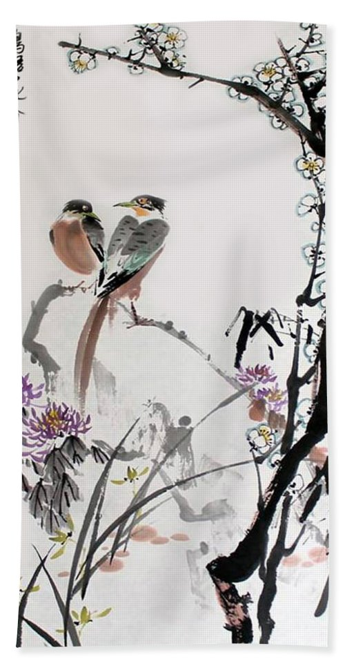 Chinese Brush Painting Bath Sheet featuring the photograph Four Seasons In Harmony by Yufeng Wang