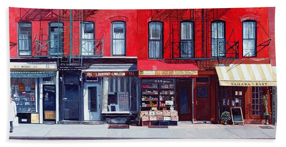 Shopfronts Hand Towel featuring the painting Four Shops On 11th Ave by Anthony Butera