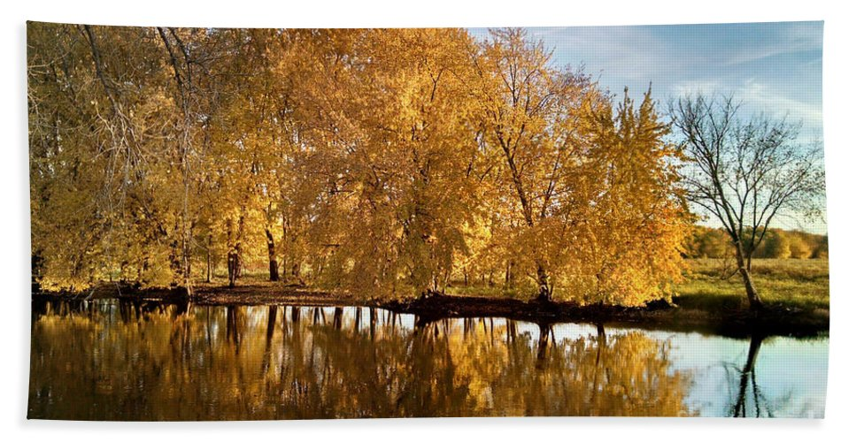 Jean Plout Bath Sheet featuring the photograph Fox River-jp2418 by Jean Plout