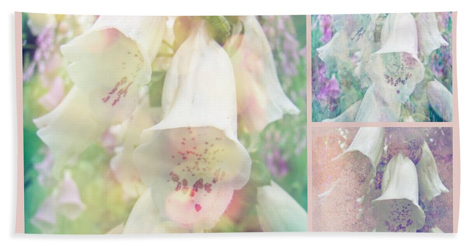Foxgloves Bath Sheet featuring the photograph Foxgloves - The Trilogy by Mother Nature
