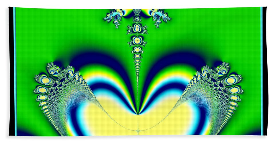 Aliens Hand Towel featuring the digital art Fractal 27 Alien Love Hear No Evil by Rose Santuci-Sofranko