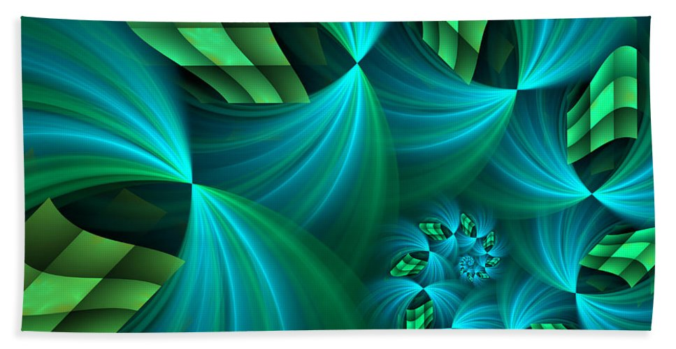Digital Art Bath Sheet featuring the digital art Fractal Gently Worn by Gabiw Art