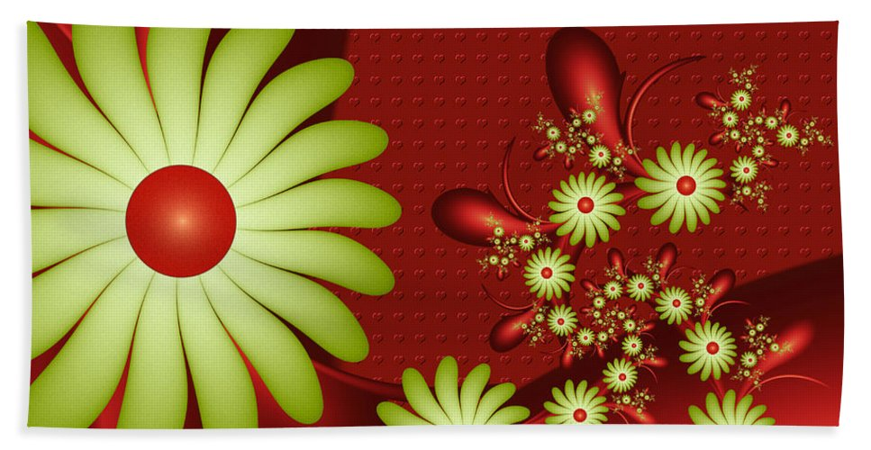 Digital Art Bath Sheet featuring the digital art Fractal Happy Flowers 2 by Gabiw Art