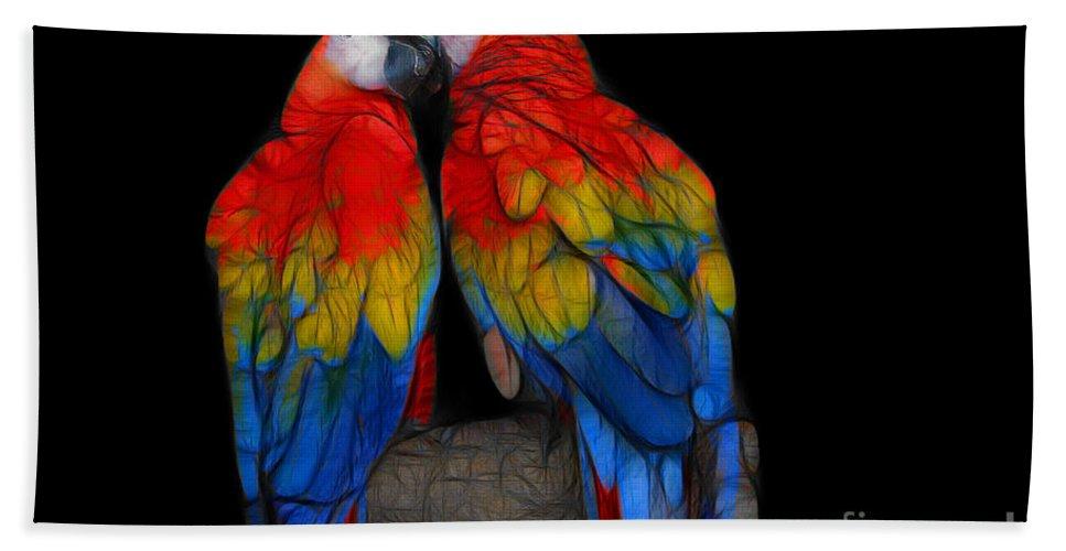 Animals Bath Sheet featuring the digital art Fractal Parrots by Teresa Zieba