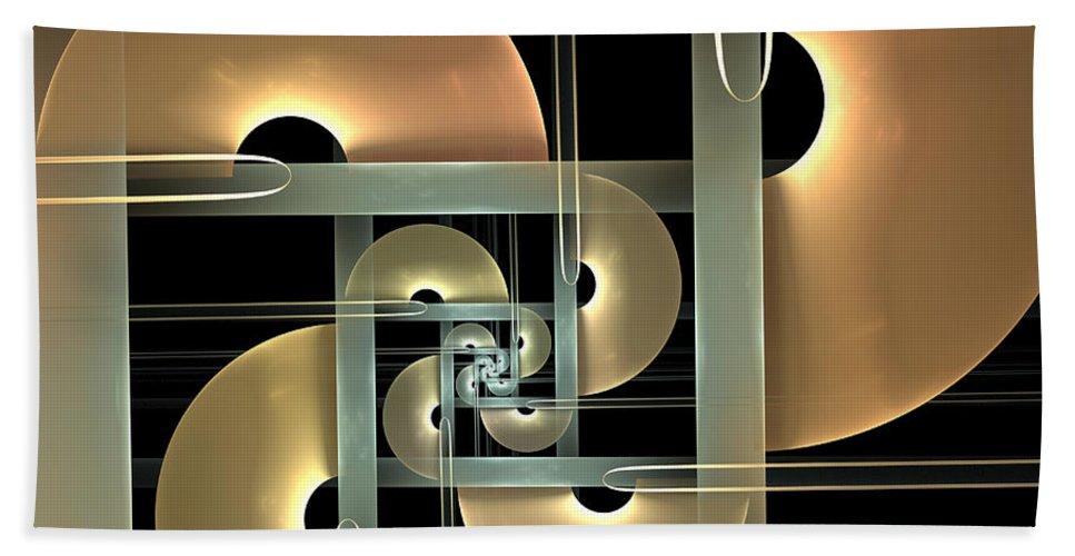 Digital Art Bath Sheet featuring the digital art Fractal Semicircles by Gabiw Art