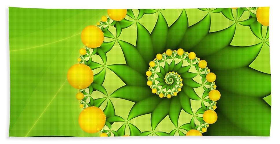 Digital Art Bath Sheet featuring the digital art Fractal Sweet Yellow Fruits by Gabiw Art