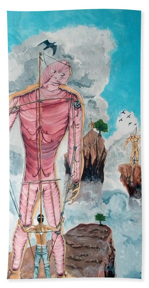 Surrealism Hand Towel featuring the painting Fragiles Colossus by Lazaro Hurtado