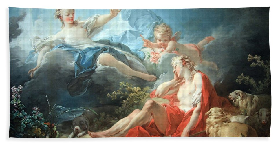 Diana And Endymion Hand Towel featuring the photograph Fragonard's Diana And Endymion by Cora Wandel
