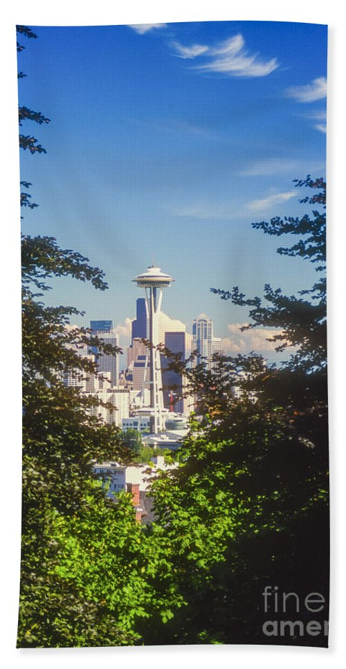 Seattle Hand Towel featuring the photograph Framed Space Needle by Bob Phillips
