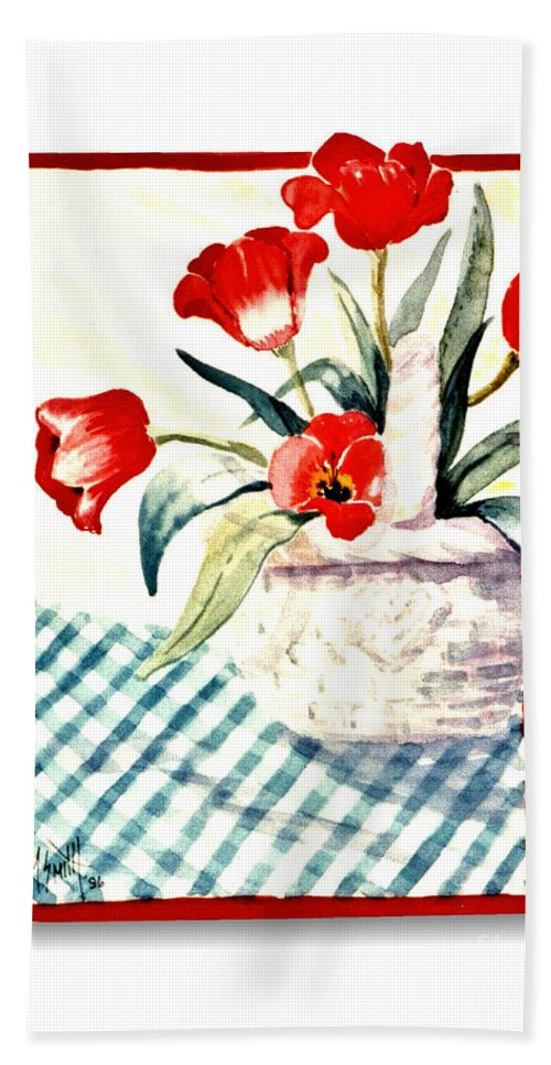 Red Tulips Hand Towel featuring the painting Framed Tulips by Marilyn Smith