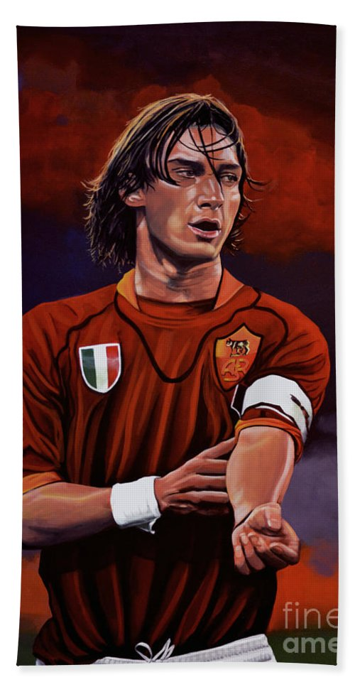 Francesco Totti Hand Towel featuring the painting Francesco Totti by Paul Meijering