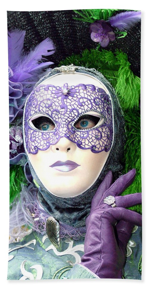 Venice Carnival Bath Sheet featuring the photograph Francine's Purple Glove by Donna Corless