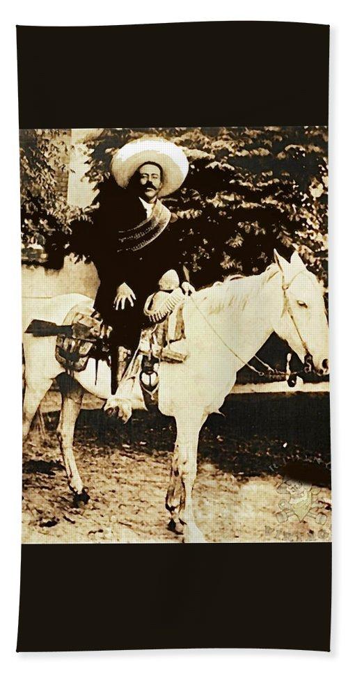 Francisco Villa On Horse Perhaps Siete Leguas Unknown Mexico Location Or Date 2013. Bath Sheet featuring the photograph Francisco Villa On Horse Perhaps Siete Leguas Unknown Mexico Location Or Date 2013. by David Lee Guss