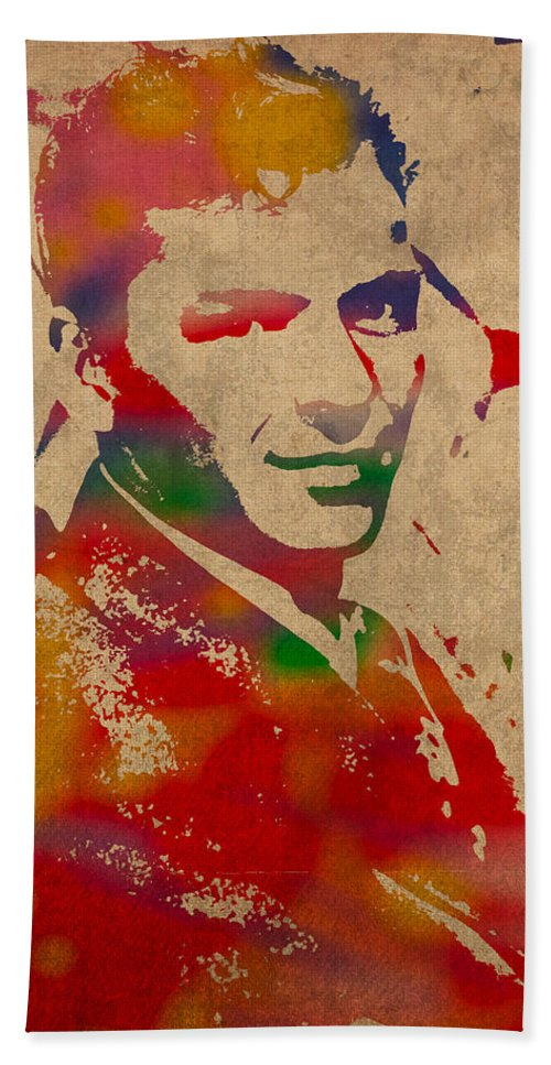 Frank Bath Towel featuring the mixed media Frank Sinatra Watercolor Portrait on Worn Distressed Canvas by Design Turnpike