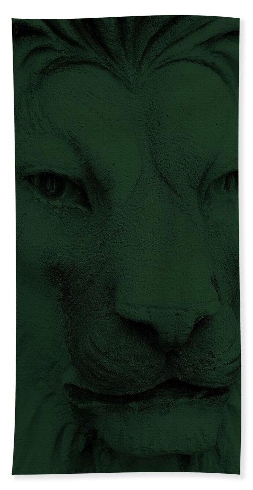 Lion Hand Towel featuring the photograph Frankie Lion Olive Green by Rob Hans