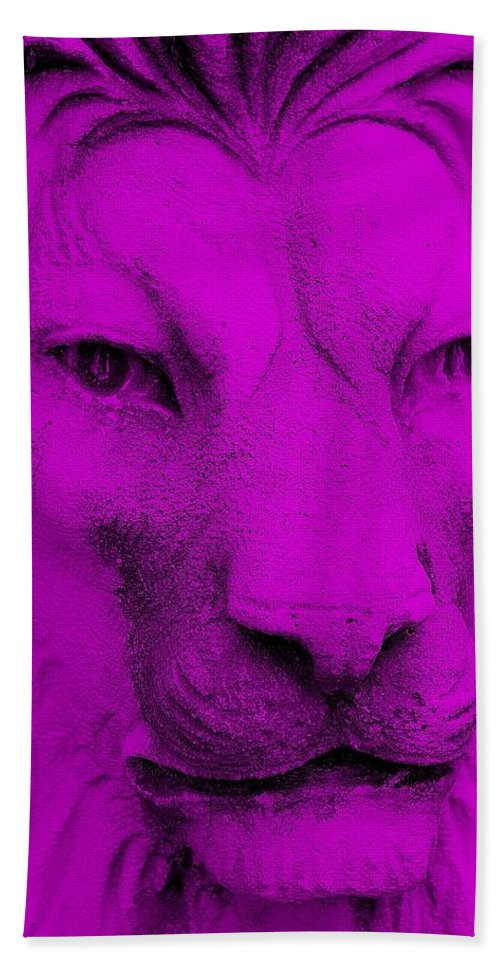 Lion Hand Towel featuring the photograph Frankie Lion Purple by Rob Hans