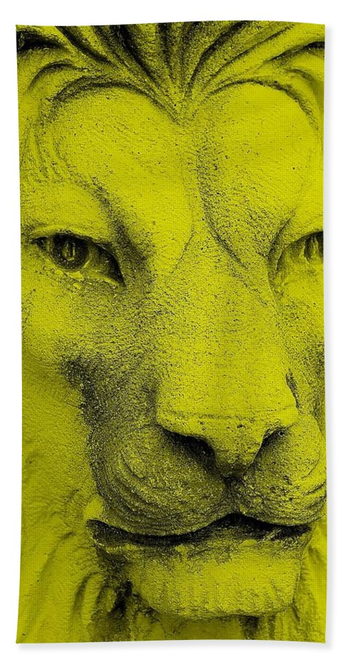 Lion Hand Towel featuring the photograph Frankie Lion Yellow by Rob Hans