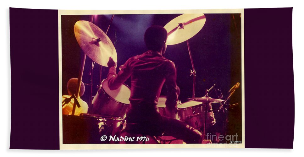 Earth Hand Towel featuring the photograph Freddie White Playing Drums Spirit Tour by Jussta Jussta