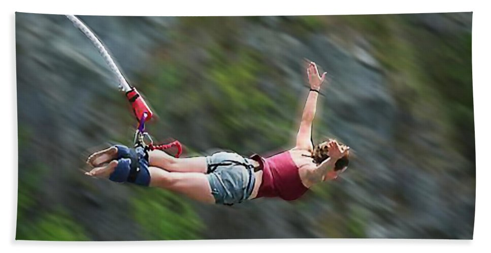 Sports Jumping Hand Towel featuring the painting Free As A Bird Bungee Jumping by Elaine Plesser