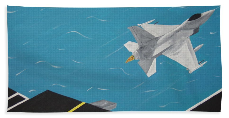 Airplane Hand Towel featuring the painting Free Bird by Dean Stephens