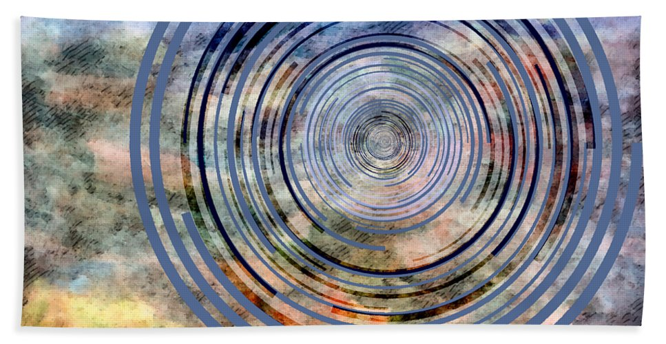 Free Bath Sheet featuring the mixed media Free From Space And Time by Angelina Vick