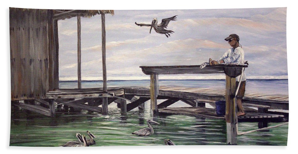 Fish Hand Towel featuring the painting Free Meal by Marilyn McNish