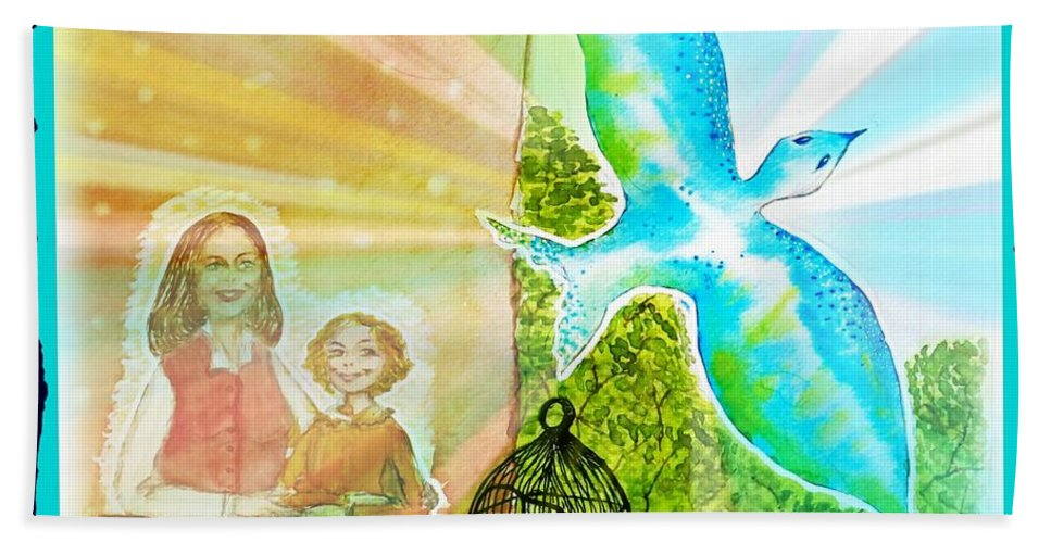 Dream Hand Towel featuring the painting Free Spirit Dreamscape - Within Border by Leanne Seymour