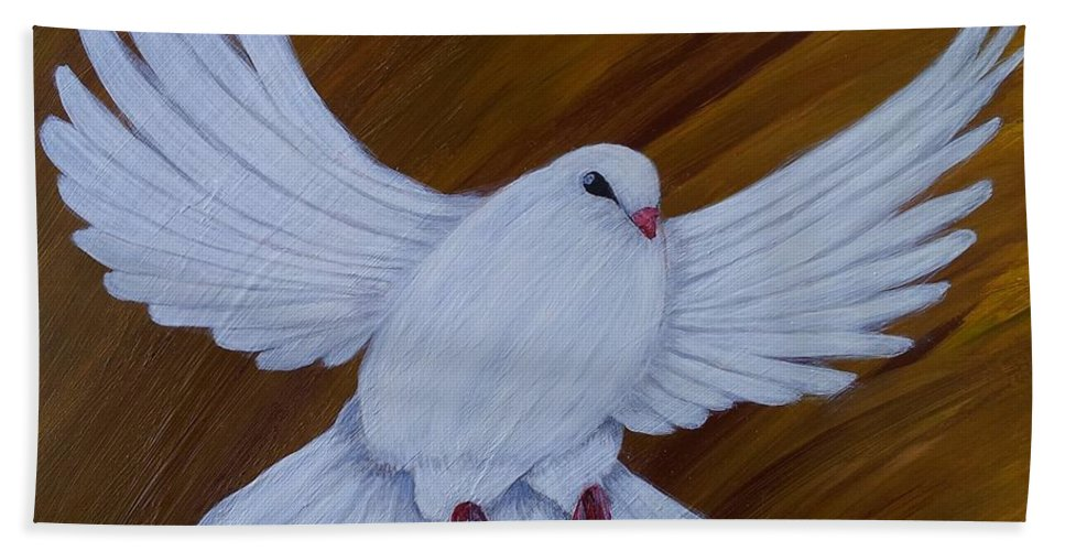 Dove Bath Sheet featuring the painting Freedom by Carol De Bruyn