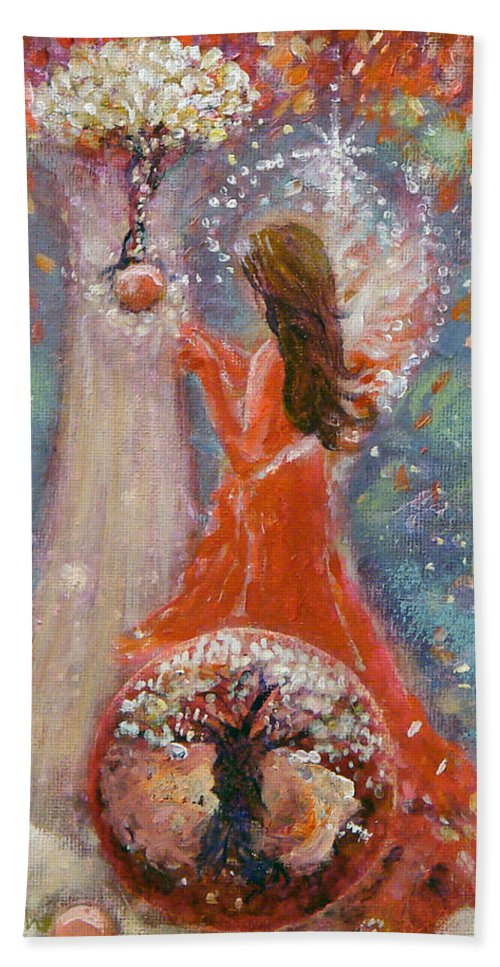 Angel Hand Towel featuring the painting Freedom's Vine by Ashleigh Dyan Bayer