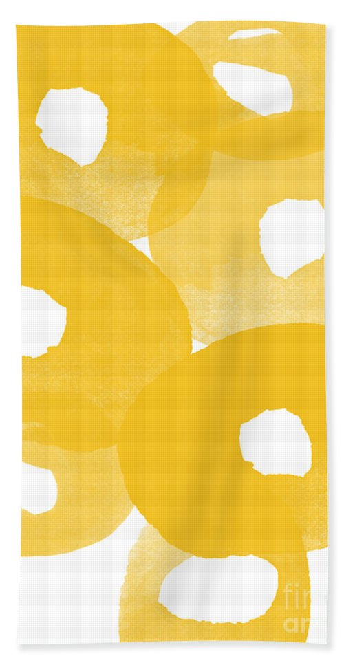 Abstract Flowers Bath Towel featuring the painting Freesia Splash by Linda Woods