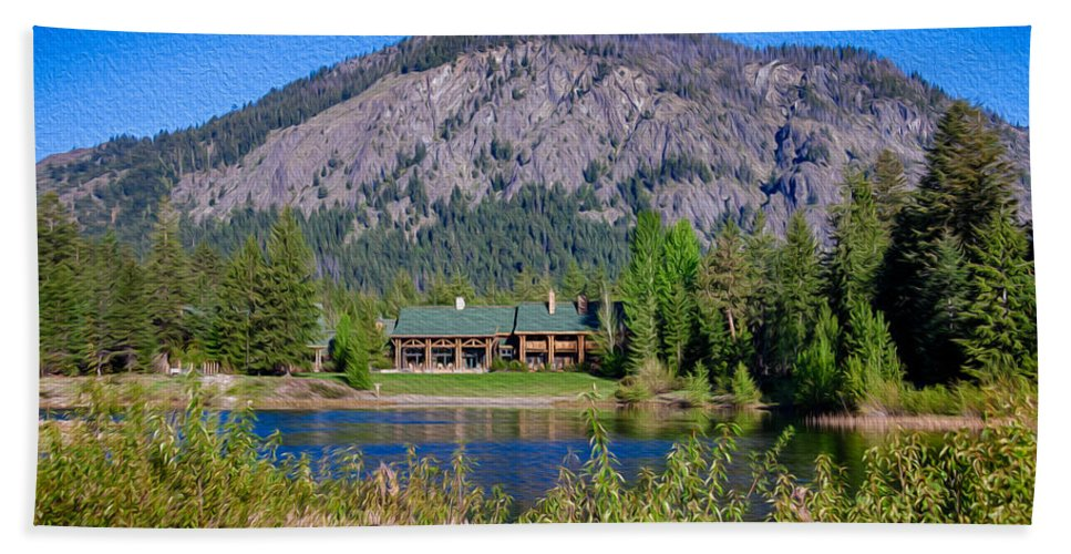 North Cascades Bath Sheet featuring the photograph Freestone Inn Lakeside View by Omaste Witkowski