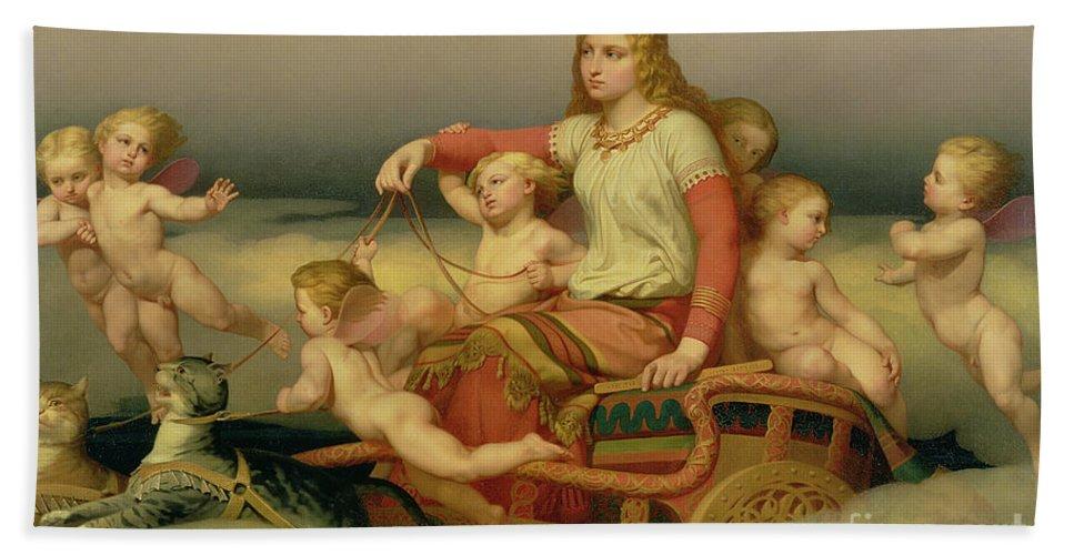 Freyja Bath Towel featuring the painting Freja Seeking Her Husband by Nils Blommer