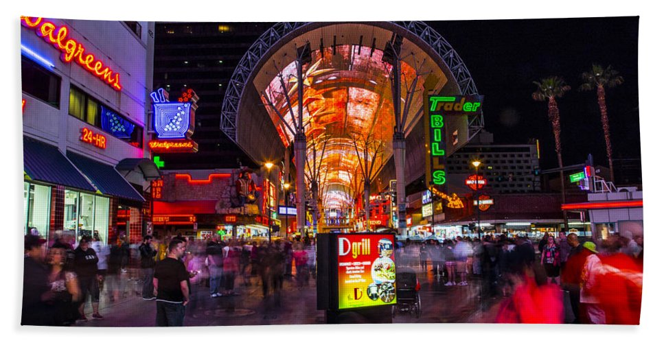 Las Vegas Hand Towel featuring the photograph Fremont Street Lights 3 by Angus Hooper Iii