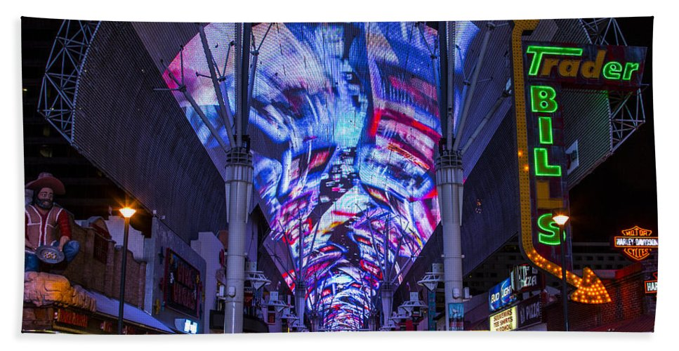 Las Vegas Hand Towel featuring the photograph Fremont Street Lights by Angus Hooper Iii