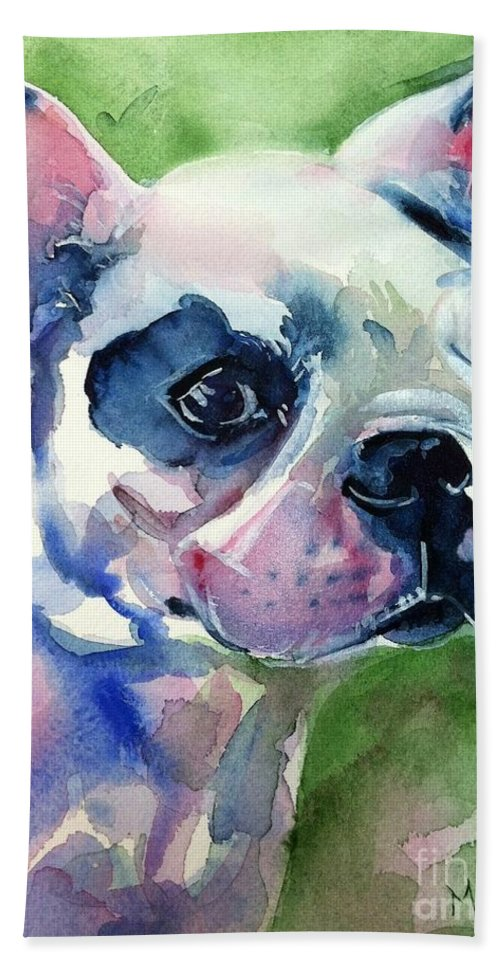 French Bulldog Painting Hand Towel featuring the painting French Bulldog Painting by Maria's Watercolor
