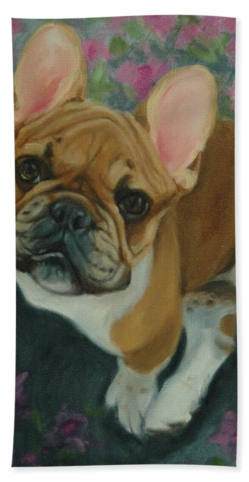 French Bulldog Bath Sheet featuring the painting French Bulldog by Pet Whimsy Portraits