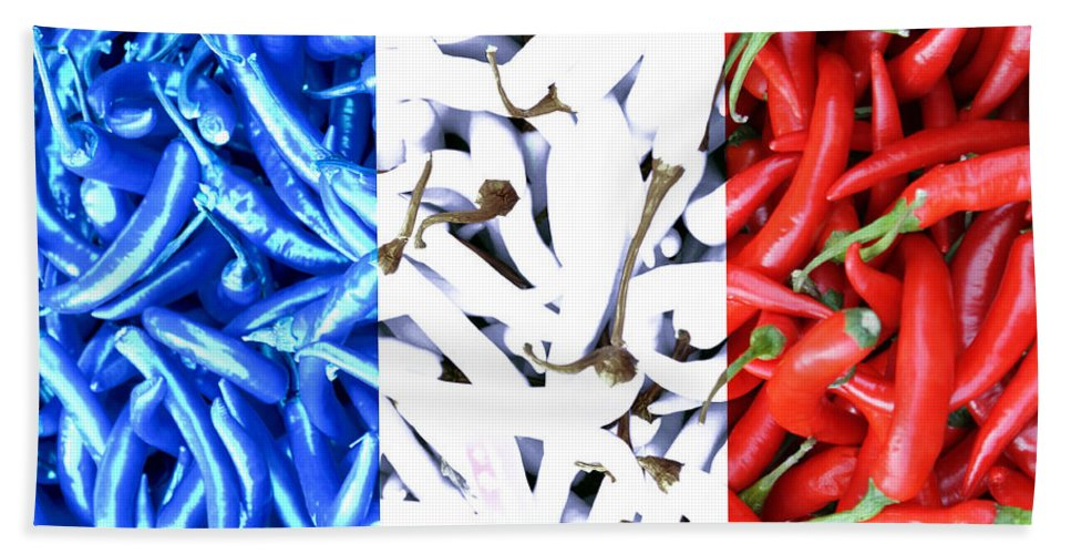 French Connection Blue White Red Chili Spicy Hot Flag Nation France Drapeau Vegetable Hand Towel featuring the photograph French Connection by Steve K