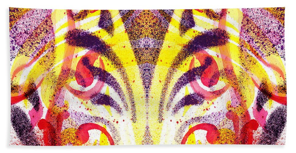 Abstract Hand Towel featuring the painting French Curve Abstract Movement Vi Mystic Flower by Irina Sztukowski