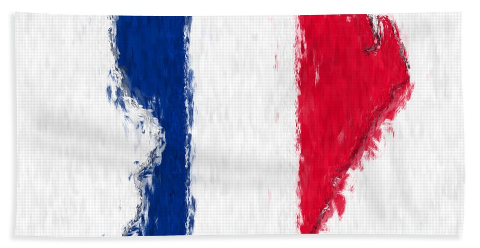 French Bath Sheet featuring the painting French Guiana Painted Flag Map by Antony McAulay