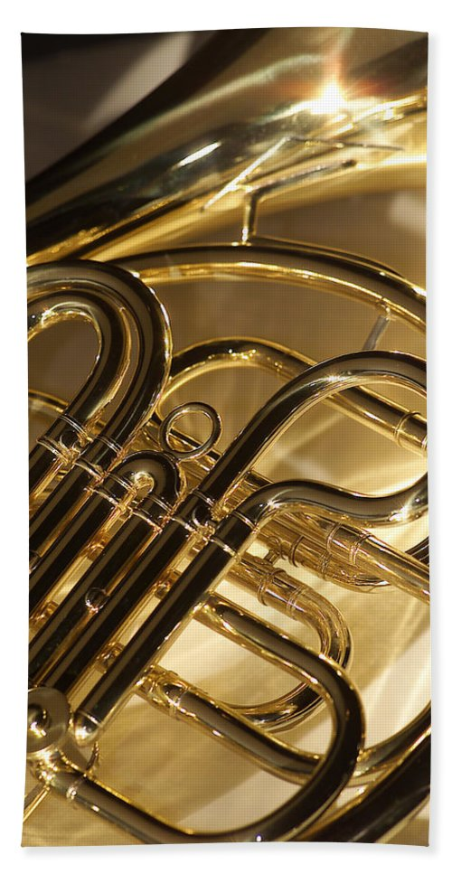 French Horn Bath Sheet featuring the photograph French Horn I by Jon Neidert