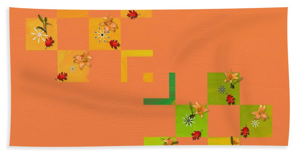 French Lillies Bath Sheet featuring the painting French Lillies Abstract by Liane Wright