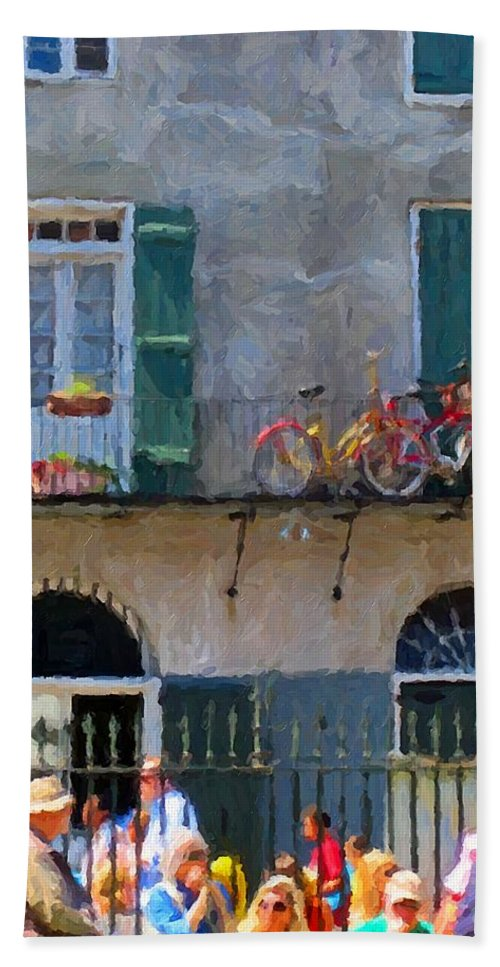French Quarter Painting Hand Towel featuring the photograph French Quarter Stroll 2 - New Orleans by Rebecca Korpita