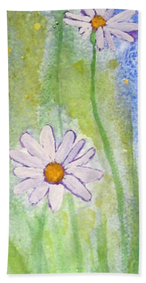 Floral Bath Sheet featuring the painting Fresh As A Daisy 1. by Elvira Ingram