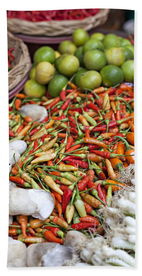 Thailand Hand Towel featuring the photograph Fresh Chili Peppers by Sophie McAulay