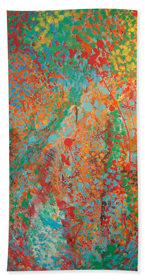 Abstract Hand Towel featuring the painting Fresh Dots by Gabe Arroyo