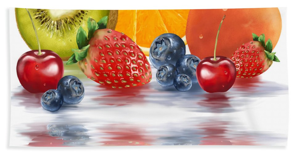Fruits Bath Sheet featuring the painting Fresh Fruits by Veronica Minozzi