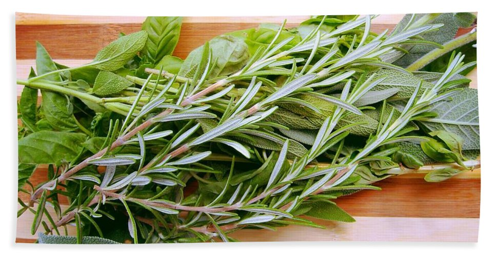 Rosemary Hand Towel featuring the photograph Fresh Herbs by Nina Ficur Feenan