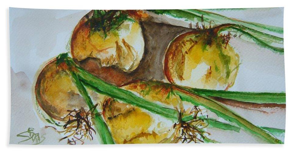 Garden Vegetable Bath Sheet featuring the painting Fresh Onions by Elaine Duras
