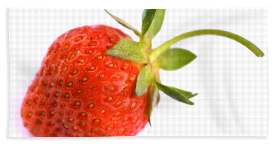 Iris Holzer Richardson Bath Sheet featuring the photograph Fresh Red Strawberry by Iris Richardson